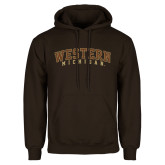 Brown Fleece Hoodie-Arched Western Michigan