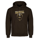 Brown Fleece Hoodie-WMU Football Slanted w/ Ball