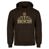 Brown Fleece Hoodie-Broncos Basketball Half Ball
