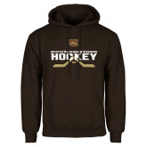 Brown Fleece Hoodie-Hockey w/ Crossed Sticks