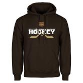 Brown Fleece Hoodie-Hockey w/ Crossed Sticks