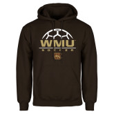 Brown Fleece Hoodie-WMU Soccer Half Ball