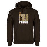 Brown Fleece Hoodie-Tennis Repeated