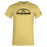 Champion Vegas Gold T Shirt-Western Michigan Football Flat w/ Ball