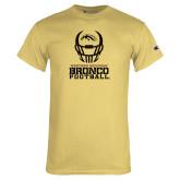 Champion Vegas Gold T Shirt-Western Michigan Bronco Football w/ Helmet