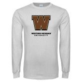 White Long Sleeve T Shirt-Western Michigan University w/ W