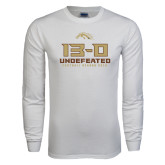 White Long Sleeve T Shirt-13-0 Undefeated Football Season 2016
