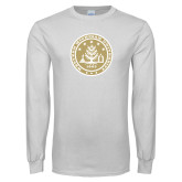 White Long Sleeve T Shirt-WMU Seal Gold