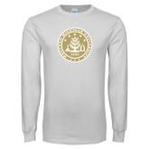 White Long Sleeve T Shirt-WMU Seal Gold