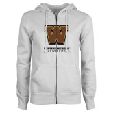ENZA Ladies White Fleece Full Zip Hoodie-Western Michigan University w/ W