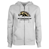 ENZA Ladies White Fleece Full Zip Hoodie-Western Michigan University w/ Bronco Head