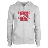 ENZA Ladies White Fleece Full Zip Hoodie-W w/ Bronco Pink Glitter