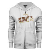 ENZA Ladies White Fleece Full Zip Hoodie-Undefeated Season Football 2016