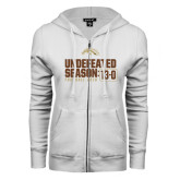 ENZA Ladies White Fleece Full Zip Hoodie-Undefeated Season 13-0 Football 2016