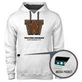 Contemporary Sofspun White Hoodie-Western Michigan University w/ W
