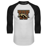White/Black Raglan Baseball T-Shirt-W w/ Bronco