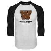 White/Black Raglan Baseball T-Shirt-Western Michigan University w/ W
