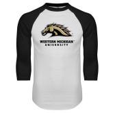 White/Black Raglan Baseball T-Shirt-Western Michigan University w/ Bronco Head