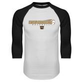White/Black Raglan Baseball T-Shirt-WMU Broncos Baseball w/ Flying Ball