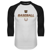 White/Black Raglan Baseball T-Shirt-Western Michigan University Baseball Flat