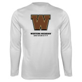Performance White Longsleeve Shirt-Western Michigan University w/ W