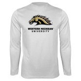 Syntrel Performance White Longsleeve Shirt-Western Michigan University w/ Bronco Head