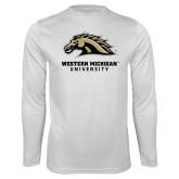 Performance White Longsleeve Shirt-Western Michigan University w/ Bronco Head