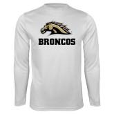 Performance White Longsleeve Shirt-Broncos w/ Bronco Head