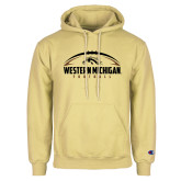 Champion Vegas Gold Fleece Hoodie-Western Michigan Football Flat w/ Ball