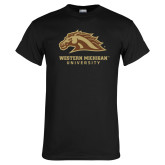 Black T Shirt-Western Michigan University w/ Bronco Head