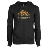 ENZA Ladies Black Fleece Full Zip Hoodie-Western Michigan University w/ Bronco Head