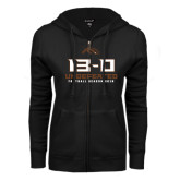 ENZA Ladies Black Fleece Full Zip Hoodie-13-0 Undefeated Football Season 2016