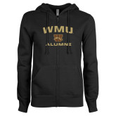 ENZA Ladies Black Fleece Full Zip Hoodie-Arched WMU Alumni