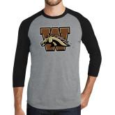 Grey/Black Tri Blend Baseball Raglan-W w/ Bronco