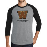 Grey/Black Tri Blend Baseball Raglan-Western Michigan University w/ W