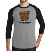 Grey/Black Tri Blend Baseball Raglan-Western Michigan University w/ W