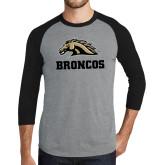 Grey/Black Tri Blend Baseball Raglan-Broncos w/ Bronco Head