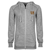ENZA Ladies Grey/Black Marled Full Zip Hoodie-W w/ Bronco