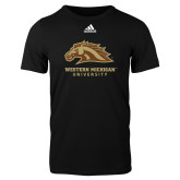 Adidas Black Logo T Shirt-Western Michigan University w/ Bronco Head