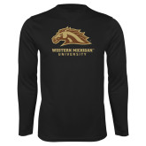Syntrel Performance Black Longsleeve Shirt-Western Michigan University w/ Bronco Head