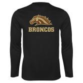 Performance Black Longsleeve Shirt-Broncos w/ Bronco Head