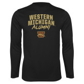 Performance Black Longsleeve Shirt-Arched Western Michigan Alumni