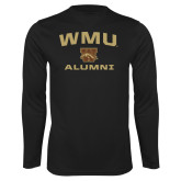 Performance Black Longsleeve Shirt-Arched WMU Alumni