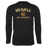 Syntrel Performance Black Longsleeve Shirt-Arched WMU Alumni