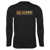 Performance Black Longsleeve Shirt-Western Michigan Alumni Stacked
