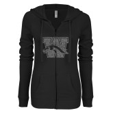 ENZA Ladies Black Light Weight Fleece Full Zip Hoodie-W w/ Bronco Graphite Glitter