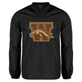 V Neck Black Raglan Windshirt-W w/ Bronco