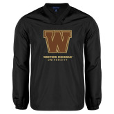 V Neck Black Raglan Windshirt-Western Michigan University w/ W