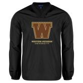 V Neck Black Raglan Windshirt-Western Michigan University w/ W