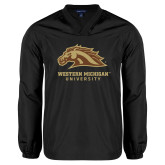 V Neck Black Raglan Windshirt-Western Michigan University w/ Bronco Head